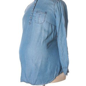 LIZ LANGE MATERNITY Small Blue Chambray Popover
